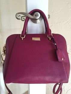 Kate Spade Anna Count Keanette Satchel Handbag Red Plum Pebble Leather | eBay