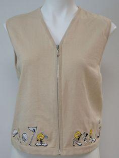 Warner Bros. Studio Store Women's Tweety bird Golf Vest Cotton Tan - Size Medium #WarnerBros