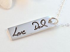 Fine Silver Personalized Handwriting Necklace by hopeofmyheart