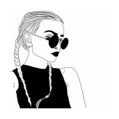 Girl draw We Heart It ❤ liked on Polyvore featuring fillers