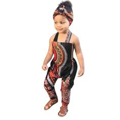 WOCACHI Kids Jumpsuit Overalls Toddler Baby Girls Boho Style African Sleeveless Strap Halter Romper with Headband: Fashion Baby Clothing Beautiful Baby Fashion For Your Baby Girl Long Romper, Romper Dress, Playsuit, Toddler Jumpsuit, Jumpsuit For Kids, Boys Winter Clothes, African Dashiki, Long Jumpsuits, Printed Jumpsuit