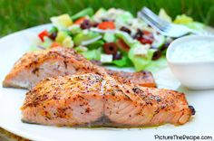 Greek Marinated Salmon with Tzatziki Sauce - PictureTheRecipe