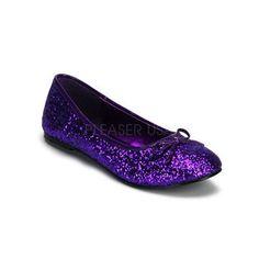 purple glitter flats