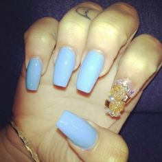 Baby Blue Nails<3