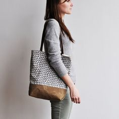 TOTE  grey triangle by bookhouathome on Etsy