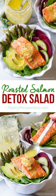 The Best Roasted Salmon Detox Salad Recipe | http://ASpicyPerspective.com