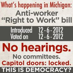 Terrible abuse of power in Michigan, terrible attack on Labor. These people need to be STOPPED and held accountable.