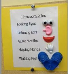 Preschool Wonders: Classroom Management {and a freebie}! Potatoe head body parts to remind students of classroom rules Classroom Setting, Classroom Setup, Classroom Organization, Classroom Management, Behavior Management, Future Classroom, Year 1 Classroom, Daycare Setup, Disney Classroom