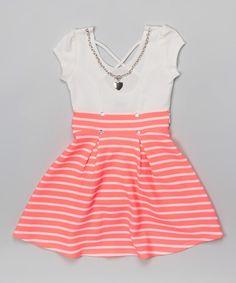 Look at this #zulilyfind! Neon Pink Stripe Skater Dress & Necklace - Toddler & Girls #zulilyfinds