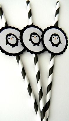 Penguin Party Straws. V we can choose any color and I can easily make with cricut machine