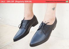 Black Leather Shoes for women. Woven leather Oxfords.  These wonderful flats lace in the front for a comfortable closure. The front of the shoe is a