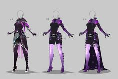 Outfit design - custom/gift by lotuslumino on deviantart vetement manga, de Fashion Design Drawings, Fashion Sketches, Dress Sketches, Purple Outfits, Cool Outfits, Drawing Anime Clothes, Hero Costumes, Anime Dress, Character Outfits