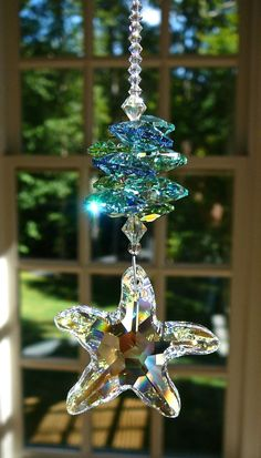 """Crystal Starfish, Swarovski AB Crystals and Pearls, Suncatcher in Ocean Colors, """"SEA STAR"""" - Lightcatcher, for Car or for Home Swarovski Crystal Figurines, Crystal Beads, Swarovski Crystals, Beaded Ornaments, Christmas Ornaments, Ocean Colors, Hanging Crystals, Bead Crafts, Suncatchers"""