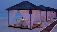 CASITAS • Cancun, MEXICO •  Individual cabanas are private dining rooms on the beach. www.aleisurelife.com/familytime