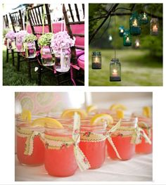 Pink Lemonade in Mason Jars with Vintage Ribbon - great for the BBQ night