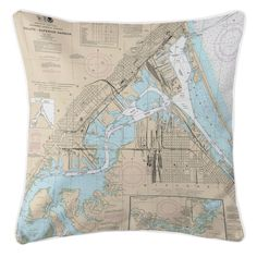 MN-WI: Duluth, MN & Superior, WI Nautical Chart Pillow
