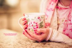 I love to drink a cup of coffee from a pretty cup~