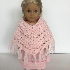 Boho Crosses Poncho crochet pattern for American Girl Doll by Little Monkeys Designs upclose