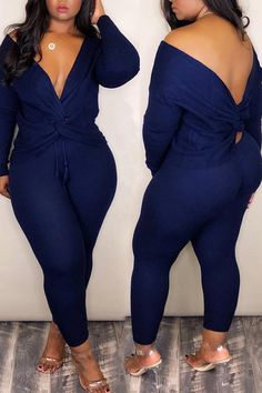 Material Polyester Style Casual Pattern Type Solid Sleeve Length Long Sleeve Neckline V Neck Suit Type Long Pants Bust(cm) Waist(cm) Hip(cm) Pants Length(cm) Top Length(cm) Weight Big Girl Fashion, Curvy Fashion, Look Fashion, Fashion Outfits, Petite Fashion, Womens Fashion, Fall Fashion, Curvy Outfits, Plus Size Outfits