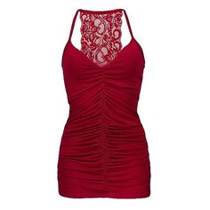 BKE Boutique Lace Back Tank Top ($14) ❤ liked on Polyvore featuring tops, shirts, tanks, tank tops, dresses, la red, shirts & tops, red ruched top, shirred top and lace back top