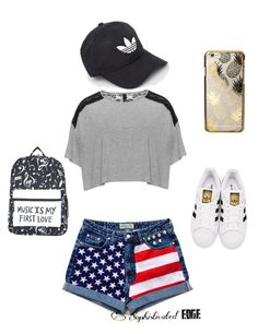 """""""Just on the go day or hang with friends, or school day"""" by cherokee-thompson on Polyvore featuring Manon Baptiste, adidas Originals, adidas and Skinnydip"""