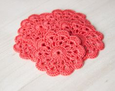 Set of 5 crochet flower appliques Coral Birthday party Decoration Wedding Embellishment