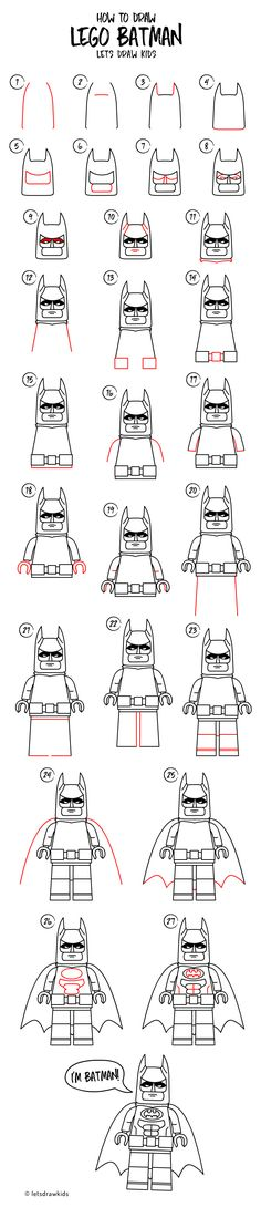 How to draw LEGO BATMAN. Easy drawing, step by step, perfect for kids! Let's draw kids.
