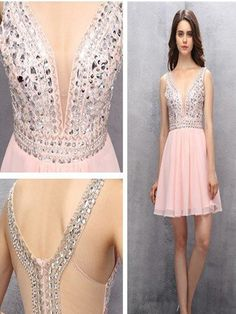 2017 New Arrival Light pink homecoming dress,sparkly homecoming dress, Chiffon homecoming dress, Sherri Hill homecoming dress,casual dress PD2110312