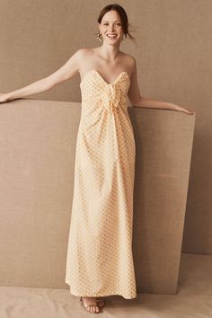 Significant Other Adella Dress by in Yellow Size: Women's Dresses at Anthropologie Sexy Wedding Dresses, Unique Dresses, Strapless Dress Formal, Formal Dresses, Strapless Maxi, Women's Dresses, Party Dresses, Making A Wedding Dress, Royal Brides