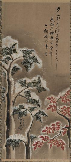 Snow-laden trees. Dated 1741.  Ogata Kenzan , (Japanese, 1663-1743) Edo period