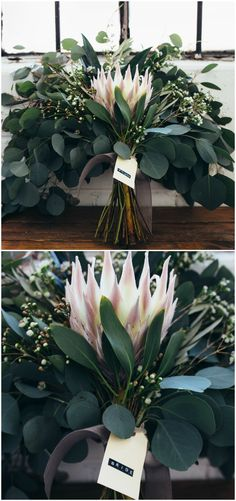 Pink protea, leafy bouquet, eucalyptus leaves // Karli Ryan Photo