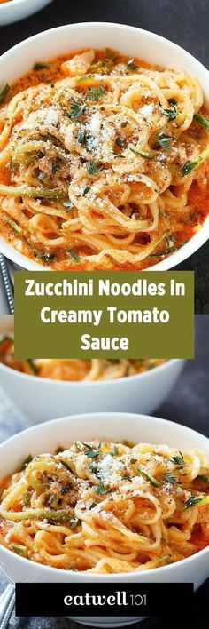 Try these zucchini noodles for a low carb comfort dinner that will be on your table in less than 20 minutes! Zucchini is quickly infused in a creamy tomato sauce flavored with onion and garlic. A g… (Zucchini Noodle Recipes) Veggie Dishes, Vegetable Recipes, Vegetarian Recipes, Zucchini Noodle Recipes, Zuchinni Recipes, Vegetarian Breakfast, Recipe For Spiralized Zucchini, Zoodles Recipe Low Carb, Zucchini Spirals Recipes
