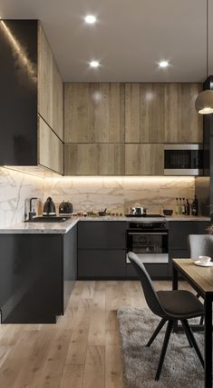 Contemporary style kitchen designs are among the methods to go. You do not require a complicated kitchen so it will be stick out, just some unique designs that can make your kitchen area the envy of the neighbors. Kitchen Room Design, Kitchen Cabinet Design, Kitchen Sets, Modern Kitchen Design, Home Decor Kitchen, Interior Design Kitchen, Kitchen Furniture, Home Kitchens, Kitchen Layout