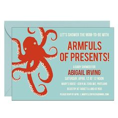 This one is out of the ordinary, but I really like the colors and the style for Alli! Octopus Baby Shower Invitation | Paper Source