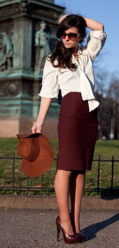 Outfit: White sheery flowy top, burgundy pencil skirt from LOFT. Love the heels & hat Office Fashion, Work Fashion, Modest Fashion, Fashion Heels, Steampunk Fashion, Gothic Fashion, Style Work, My Style, Daily Style