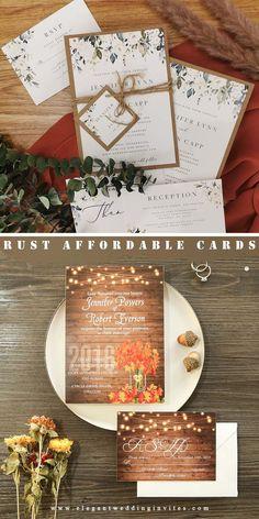 Rustic wedding invitation with earth greenery toned for fall winter elegant wwedding ideas