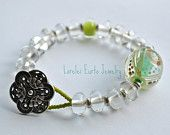 Lampwork glass Beaded Bracelet with Button Clasp