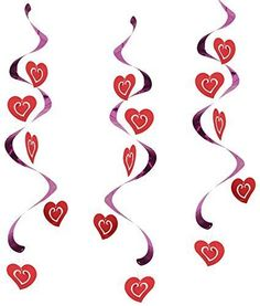Valentines Day Decoration Party Hanging Hearts Whirls Lights Doorways 24 Inch #CreativeConverting