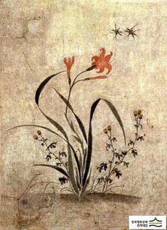 (Korea) Folder Screens by Lady Shin Saimdang (1504- 1551). 48.6×35.9cm. ca 16th century CE. colors on paper. Ojukhyeon Museum.