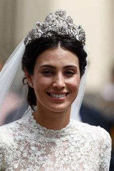 Peruvian Alessandra de Osma donned the Hanover Floral Tiara, smiles during her wedding with Prince Christian of Hanover at Basilica San Pedro on March 16, 2018 in Lima, Peru.