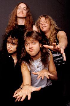 Metallica Cliff Burton, James Hetfield, bottom Kirk Hammett, Lars Ulrich