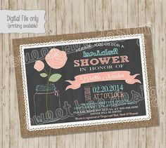 Bridal Shower Invitation Pink Coral Blue by SweetBeeDesignShoppe, $12.00