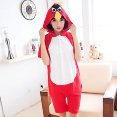 Summer Cotton Pajamas Animal Cartoon Cospaly Costume Short Pyjamas Unisex  Family matching Onesie Hooded Sleepwear Red Bird-in Family Matching Outfits  from ... 54eb8119c