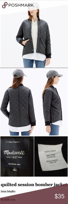 """Madewell Quilted Session Bomber Jacket, size Large Excellent used condition - no flaws! Size large and true-to-size; bust measures 23.5"""" across, and length from shoulder to hem is 25"""". Madewell product details: A military-style bomber remade in quilted waxed cotton with supercool side zips. A brilliant transitional piece that layers perfectly over sweatshirts or sweaters. Madewell Jackets & Coats"""