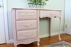 Silver Pennies: Adele (Before & After)  Annie Sloan Chalk Paint in Antoinette, trim in Old White mixed with Artisan Enhancements pearl plaster, drawers are ASCP Chateau Grey.