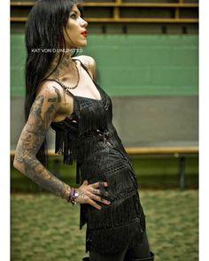 goth biker - Kat Von D Kat Von D Tattoos, The Kat, Rocker Style, Studios, Inked Girls, Tattood Girls, Girl Tattoos, Tatoos, Up Girl