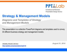https://flevy.com/browse/strategy-marketing-and-sales/corporate-strategy-and-management-models-129/ref/documentsfiles/ This presentation is a collection PowerPoint diagrams and templates used to convey 30 different business strategy and management models.  Please note that are diagrams and charts that are to be used in your own business presentations.