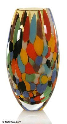 What fun colors in this Murano Art Glass Vase