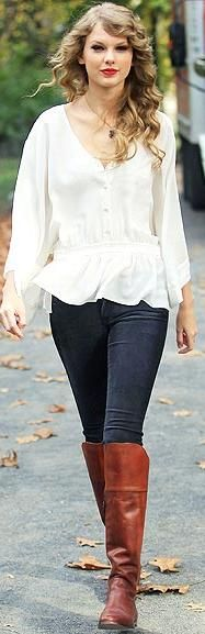 Flowy White Blouse, Skinny Jeans & Over Knee Boots