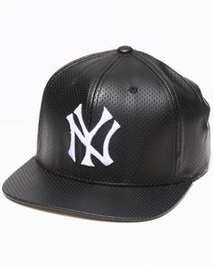 DrJays.com - Detailed Images of New York Yankees Perforated Faux Leather Snapback hat (Drjays.com Exclusive// Limited Edition) by American Needle
